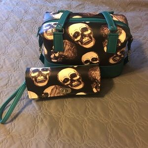 Sketched Skull Handbag & Wallet